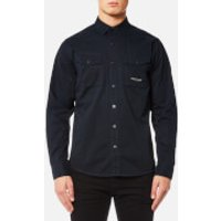 Marshall Artist Mens Dual Pocket Military Shirt - Navy - L - Blue