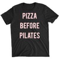 Pizza Before Pilates Black T-Shirt - XXL - Grey