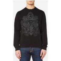 Versace Jeans Mens Embroidered Tiger Logo Sweatshirt - Nero - XL - Black