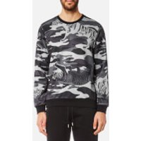 Versace Jeans Mens Tiger Camo Sweatshirt - Grigio Medio - L - Grey