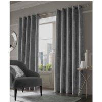 Sienna Eyelet Crushed Velvet Curtains - Silver - 90 x 72cm