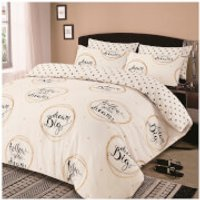 Dreamscene Follow Your Dreams Duvet Set - Natural - Double