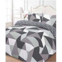 Dreamscene Shapes Duvet Set - Grey - Double - Grey