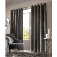 Sienna Eyelet Crushed Velvet Curtains - Charcoal - 46 x 54cm