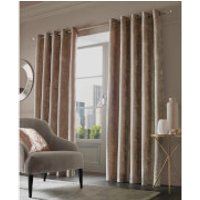 Sienna Eyelet Crushed Velvet Curtains - Natural - 90 x 90cm