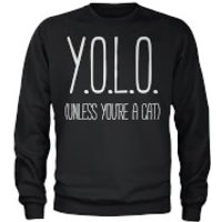 YOLO (Unless Youre a Cat) Sweatshirt - Black - M - Black