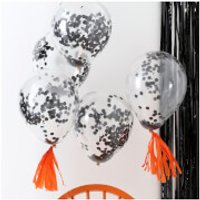 Ginger Ray Black Confetti Balloons - Pumpkin Party - Balloons Gifts