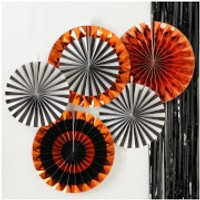 Ginger Ray Orange Foiled Mixed Pack Fan Decorations - Pumpkin Party - Pumpkin Gifts