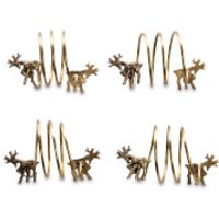 Nkuku Stag Napkin Rings - Antique Brass (Set of 4) - Stag Gifts
