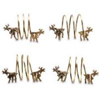 Nkuku Stag Napkin Rings - Antique Brass (Set of 4)
