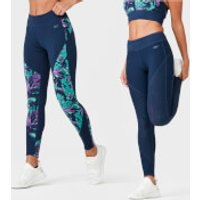 Tropical Reversible Leggings - L - Tropical/Navy