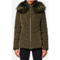 Froccella Women's Short Cheveron Big Fur Collar Coat - Khaki/ Khaki Fur - XL - Green