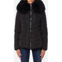 Froccella Womens Short Cheveron Big Fur Collar Coat - Black/ Black Fur - L - Black