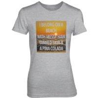 I Belong On A Beach With Messy Hair Women's Grey T-Shirt - XXL - Grey - Beach Gifts