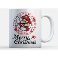 Nintendo Mario merry christmas wreath mug