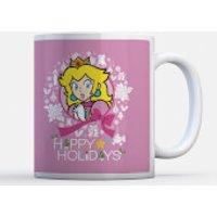 Taza Navidad Nintendo Super Mario Peach  Happy Holidays