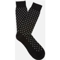 Pantherella Men's Streatham All Over Spot Cotton Socks - Black - M - Black
