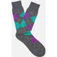 Pantherella Men's Turnmill Egyption Cotton Argyle Socks - Dark Grey Mix - M - Grey