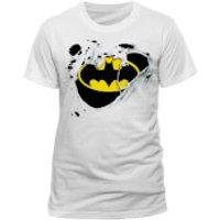 DC Comics Mens Batman Torn Logo T-Shirt - White - S - White
