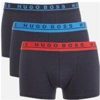 BOSS Hugo Boss Mens 3 Pack Trunk Boxers - Blue/Black/Red Band - XL - Black