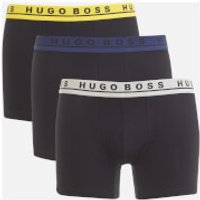BOSS Hugo Boss Mens 3 Pack Boxer Briefs - Navy/Grey/Yellow Band - M - Black