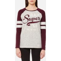 Superdry Womens Applique Raglan Long Sleeve T-Shirt - Dark Storm Marl/Rich Berry - M - Multi