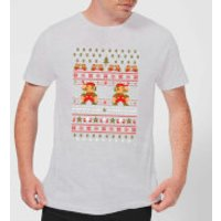 Nintendo Super Mario Mario Ho Ho Ho It's A Me Christmas Grey T-Shirt - S - Grey