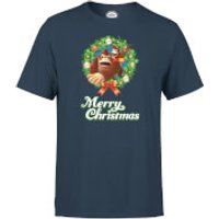 Nintendo Donkey Kong Diddy Kong Merry Christmas Smaller Wreath Navy T-Shirt - M - Navy