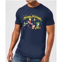 Nintendo Super Mario Good Guys Happy Holidays Navy T-Shirt - XXL - Navy