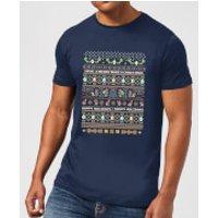 Nintendo Yoshi Have A Merry Mario Christmas Navy T-Shirt - XXL - Navy