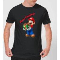 Nintendo Super Mario Mario Present Merry Christmas Black T-Shirt - S - Black