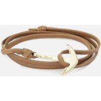 Miansai Men's Leather Bracelet with Gold Anchor - Brown