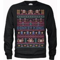 Nintendo Donkey Kong Retro Black Christmas Sweatshirt - XL - Black