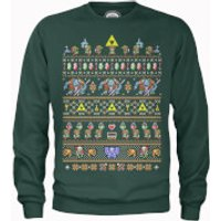 Nintendo Legend Of Zelda Retro Green Christmas Sweatshirt - XL - Green