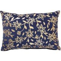 Bloomingville Gold Floral Print Cushion - Blue