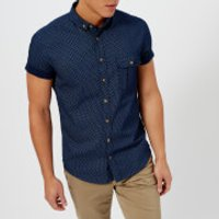 BOSS Orange Mens Elibre Short Sleeve Shirt - Navy - M - Blue