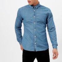 HUGO Mens Ero Long Sleeve Shirt - Denim Wash Blue - XL - Blue