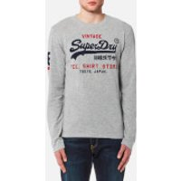 Superdry Mens Shirt Shop Duo Long Sleeve T-Shirt - Trophy Grey Slub - M - Grey