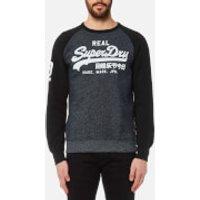 Superdry Mens Vintage Logo Raglan Crew Sweatshirt - Haydock Navy Birdseye Effect - L - Navy