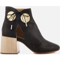 MM6-Maison-Margiela-Womens-Ankle-Boot-with-Cut-Out-Side-and-Wooden-Block-Heels-Black-EU-39UK-6-Black