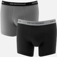 Emporio Armani Mens Cotton Stretch 2 Pack Boxer Shorts - Black and Grey - S - Black