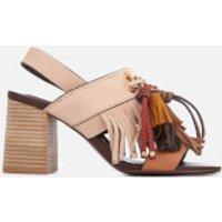 See By Chloe Women's Leather Tassel Heeled Sandals - Beige - UK 3 - Beige