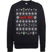 DC Comics Suicide Squad Character Faces Black Christmas Sweatshirt - S - Black