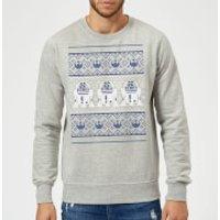 Star Wars R2D2 Christmas Knit Grey Christmas Sweatshirt - M - Grey