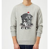 Star Wars Happy Holidays Droids Grey Christmas Sweatshirt - XL - Grey