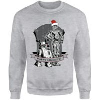 Star Wars Happy Holidays Droids Grey Christmas Sweatshirt - S - Grey