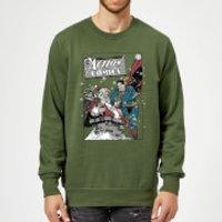 DC Comics Originals Superman Action Comics Green Christmas Sweatshirt - S - Green