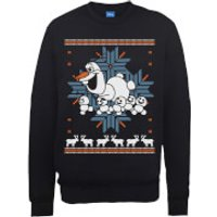 Disney Frozen Christmas Olaf And Snowmens Black Christmas Sweatshirt - S - Black