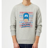 Marvel Comics Captain America Christmas Knit Grey Christmas Sweatshirt - S - Grey