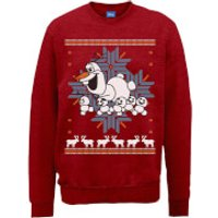Disney Frozen Christmas Olaf And Snowmens Red Christmas Sweatshirt - S - Red